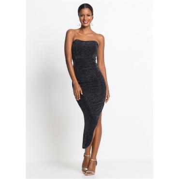 Partykleid ohne Ärmel  in schwarz (schulterfrei) von bonprix