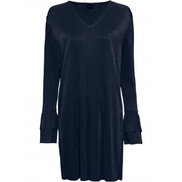 Plissée-Kleid langarm  in blau von bonprix