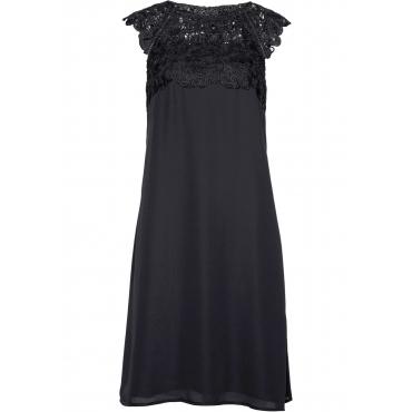 Premium Chiffonkleid mit Spitze kurzer Arm  in schwarz  von bonprix