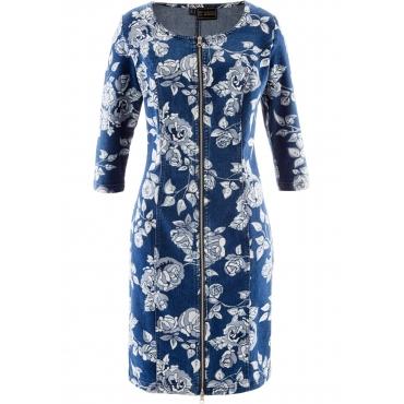 Premium Jeanskleid 3/4 Arm  in blau von bonprix