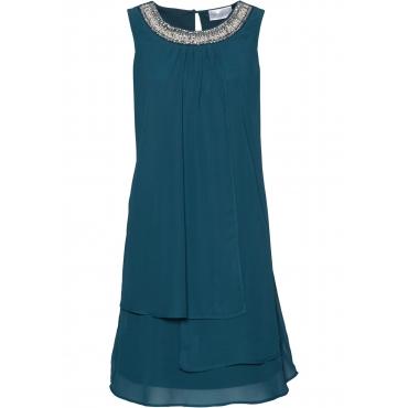 Premium Kleid mit Applikation ohne Ärmel  in petrol von bonprix