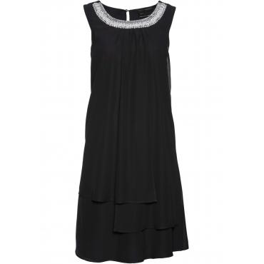 Premium Kleid mit Applikation ohne Ärmel  in schwarz von bonprix