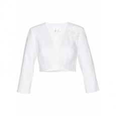 Premium Leinen-Bolero mit Applikation 3/4 Arm  in weiß für Damen von bonprix