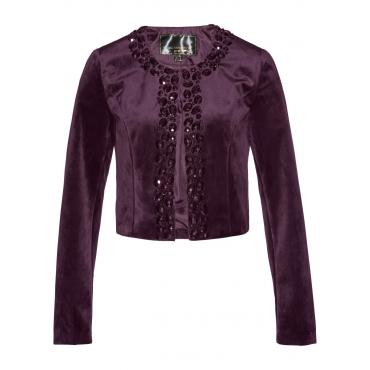 Premium Samt-Bolero mit Glitzersteinen langarm  in lila für Damen von bonprix