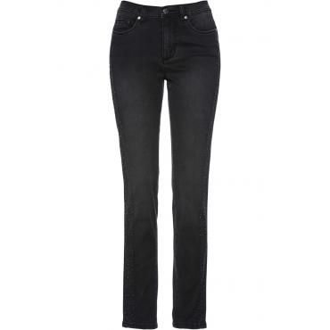 Premium Shape-Jeans mit Glitzersteinen in schwarz für Damen von bonprix