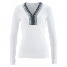 Premium-Shirt mit Applikationen langarm  in weiß für Damen von bonprix