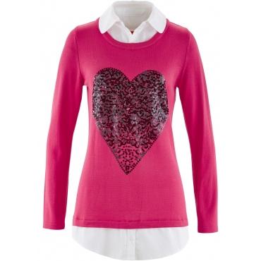 Pullover in Doppeloptik langarm  in lila für Damen von bonprix