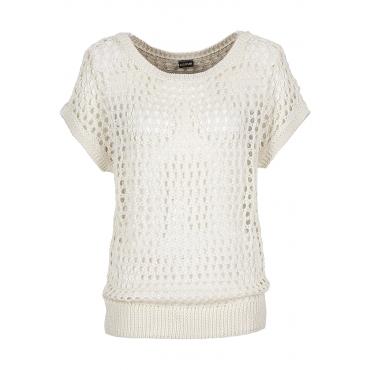 Pullover kurzer Arm  in weiß (U-Boot-Ausschnitt) für Damen von bonprix