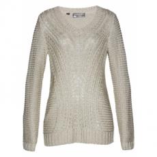 Pullover langarm  in beige (V-Ausschnitt) für Damen von bonprix