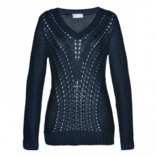 Pullover langarm  in blau (V-Ausschnitt) für Damen von bonprix