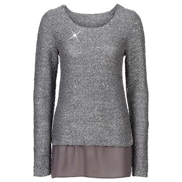 Pullover langarm  in grau (Rundhals) für Damen von bonprix