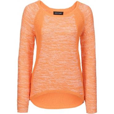Pullover langarm  in orange (Rundhals) für Damen von bonprix