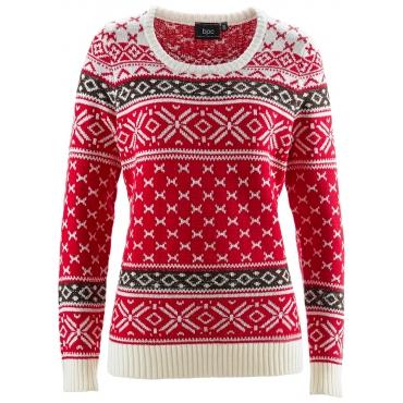 Pullover langarm  in rot (Rundhals) für Damen von bonprix