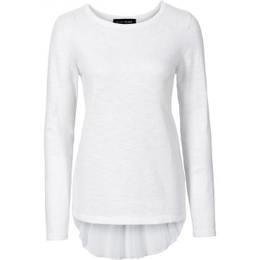 Pullover mit Bluseneinsatz langarm  in weiß für Damen von bonprix