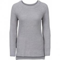 Pullover mit Seitenschlitz langarm  in grau für Damen von bonprix