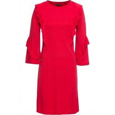Punto-di-Roma-Shirtkleid mit Volants 3/4 Arm  in rot für Damen von bonprix