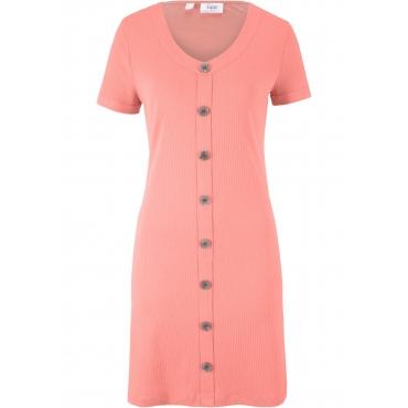 Ripp-Kleid mit Knopfdetail kurzer Arm  in rot für Damen von bonprix
