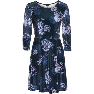 Samtkleid mit floralem Muster 3/4 Arm  in blau von bonprix