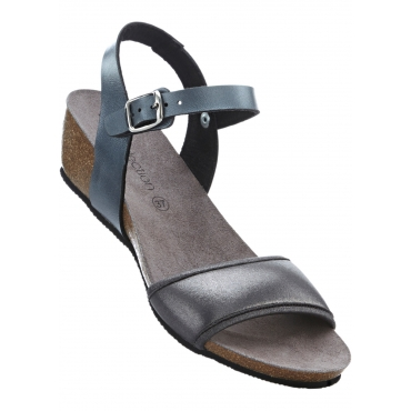 Sandale mit 4 cm Keilabsatz in schwarz von bonprix
