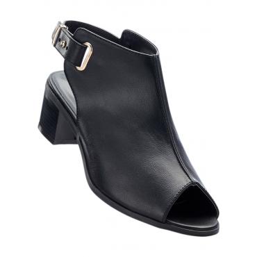 Sandale mit 5 cm Blockabsatz in schwarz von bonprix