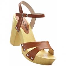 Sandalette mit 10,5 cm Blockabsatz in braun von bonprix