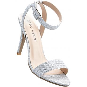 Sandalette mit 10 cm High-Heel in grau von bonprix