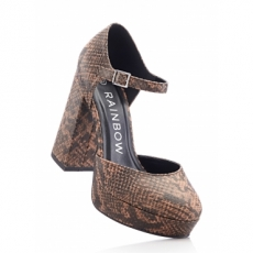 Sandalette mit 13 cm Blockabsatz in braun von bonprix