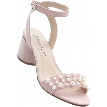Sandalette mit 5 cm Blockabsatz in beige von bonprix
