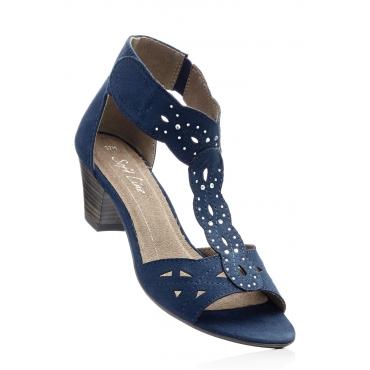Sandalette mit 5 cm Trichterabsatz in blau von bonprix