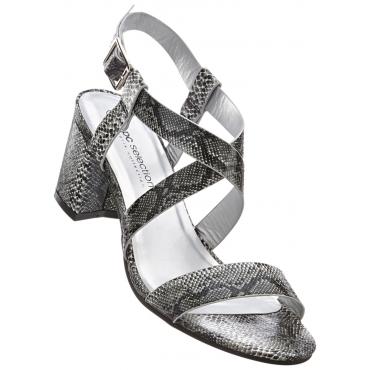 Sandalette mit 6 cm Keilabsatz in schwarz von bonprix