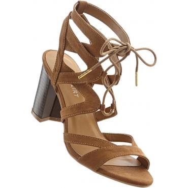 Sandalette mit 7 cm Blockabsatz in braun von bonprix