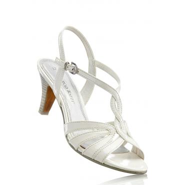 Sandalette mit 7 cm Trichterabsatz in weiß von bonprix