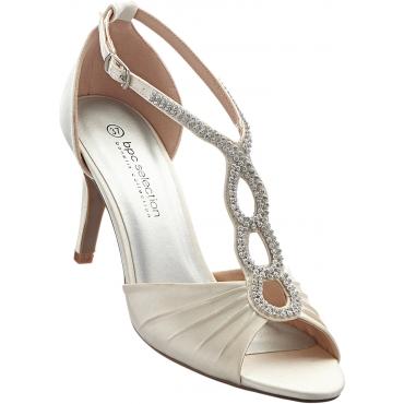 Sandalette mit 8 cm High-Heel in beige von bonprix