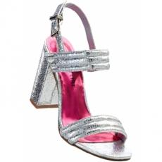 Sandalette mit 9,5 cm Blockabsatz in grau von bonprix