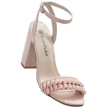 Sandalette mit Rüschen mit 8 cm Blockabsatz in rosa von bonprix