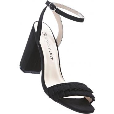 Sandalette mit Rüschen mit 8 cm Blockabsatz in schwarz von bonprix