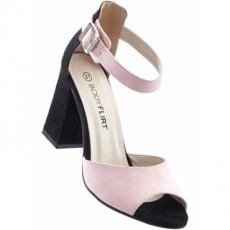 Sandaletten mit 9 cm Blockabsatz in schwarz von bonprix