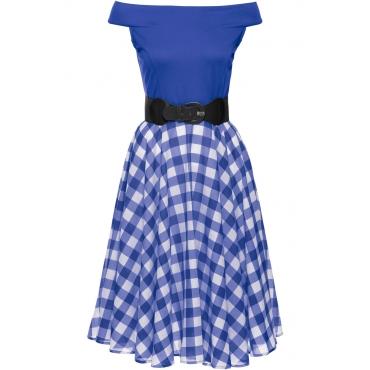 Schulterfreies Kleid kurzer Arm  in blau von bonprix