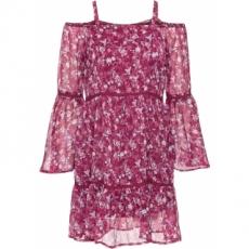 Schulterfreies Kleid langarm  in rot von bonprix