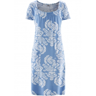 Bedrucktes Jerseykleid mit Taschen, Halbarm in blau für Damen von bonprix