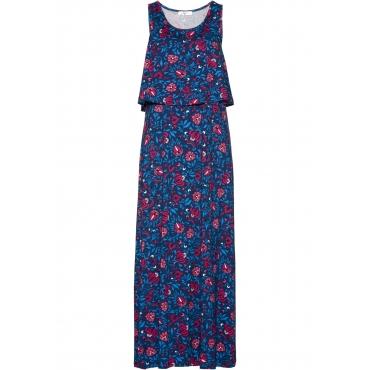 Jersey-Maxikleid in Lagenoptik ohne Ärmel  in blau für Damen von bonprix