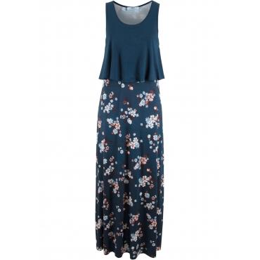 Shirt-Kleid in Lagenoptik ohne Ärmel  in blau von bonprix