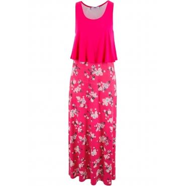 Shirt-Kleid in Lagenoptik ohne Ärmel  in pink von bonprix