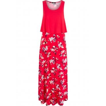 Shirt-Kleid in Lagenoptik ohne Ärmel  in rot von bonprix