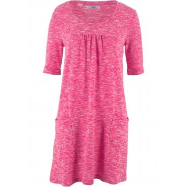 Shirt-Kleid in Melange-Optik mit Halbarm in pink von bonprix