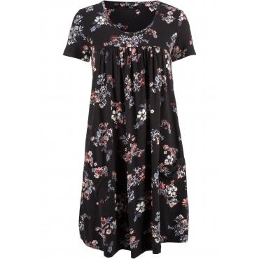 Shirt-Kleid, Kurzarm in schwarz von bonprix