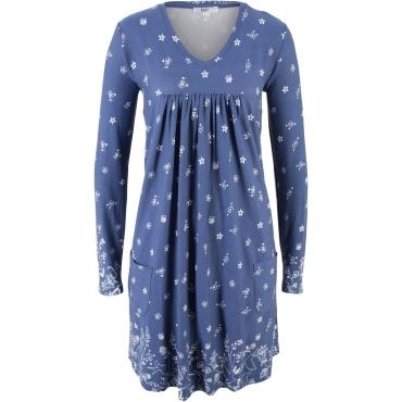 Shirt-Kleid, Langarm in blau von bonprix