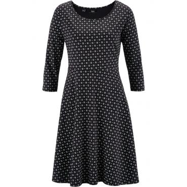 Shirt-Kleid mit 3/4-Ärmeln 3/4 Arm  in schwarz von bonprix
