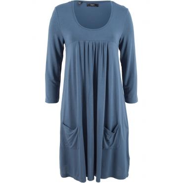 Shirt-Kleid mit 3/4-Arm in blau von bonprix