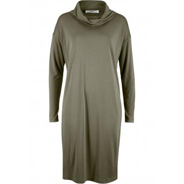 Shirt-Kleid mit überschnittenen Schultern und Schalkragen langarm  in grün  von bonprix